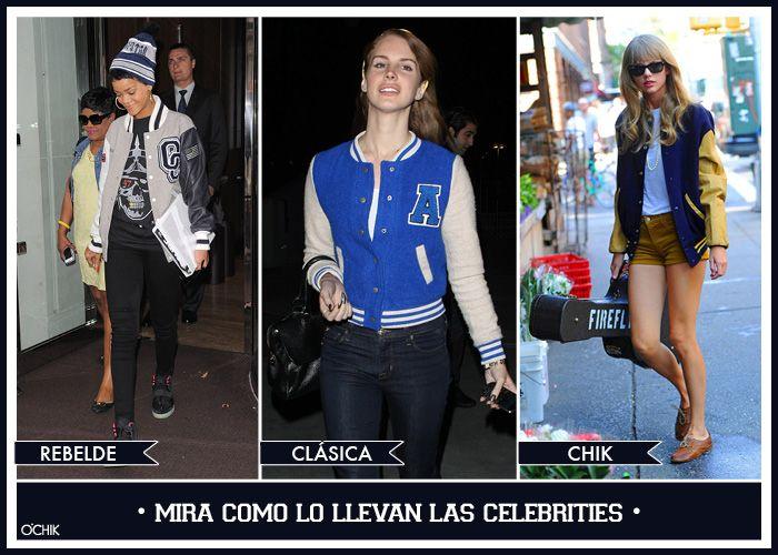 Celebrities. Varsity jacket. Rebelde. Chic. Clásica Más en www.ochik.com