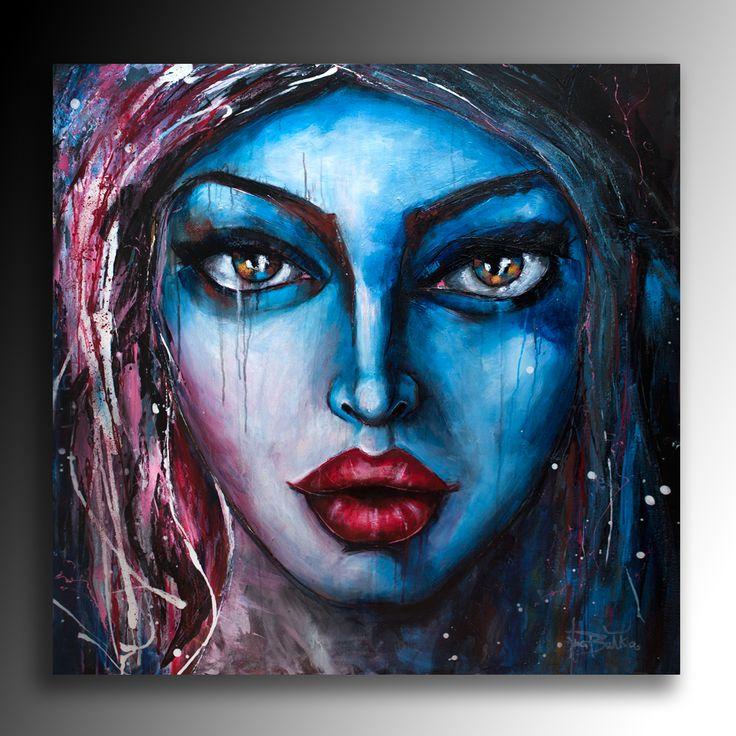 """Art Portrait Woman """"Blue moon"""""""