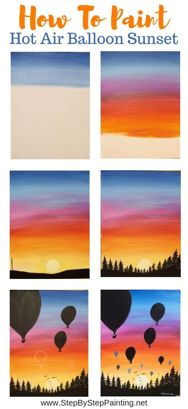 How To Paint A Sunset With Hot Air Balloon Silhouettes Easy