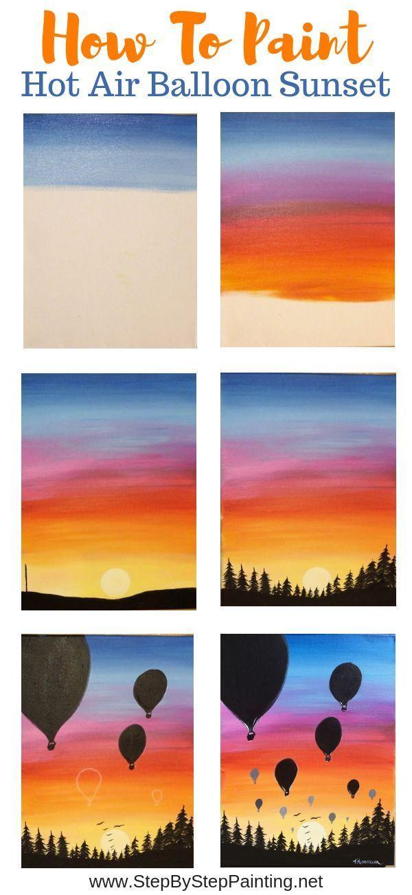 Wie man einen Sonnenuntergang mit Heißluftballon-Silhouetten malt. Einfache Acrylmalerei für