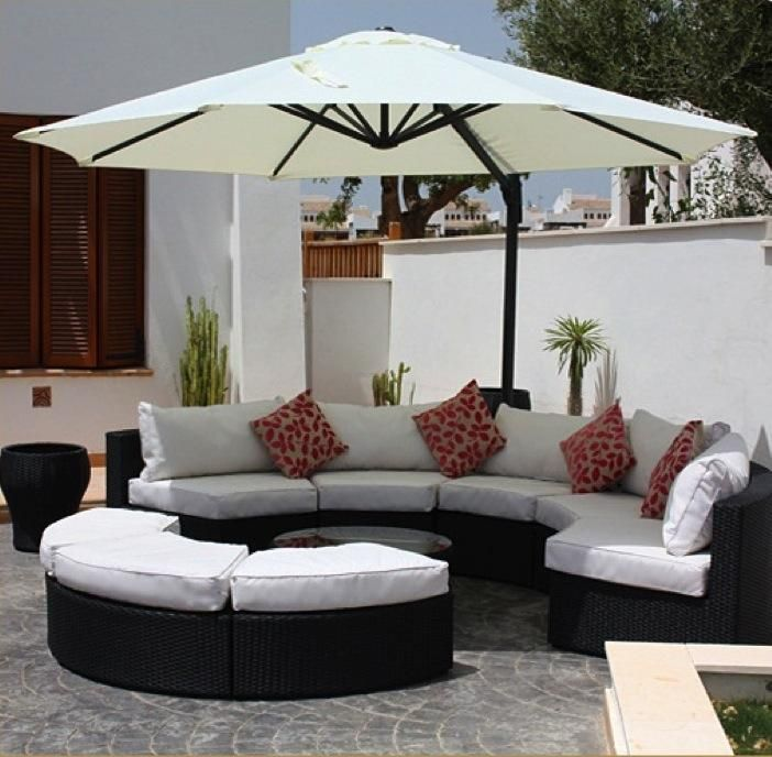 White Circle Outdoor Couch with Umbrella.jpg provided by AT Bargains, LLC Eastlake 80614