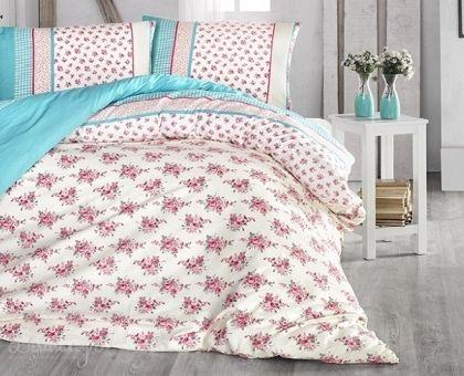 Купить постельное белье RANFORCE AHSEN бирюзовое 50х70 евро от производителя Altinbasak (Турция)