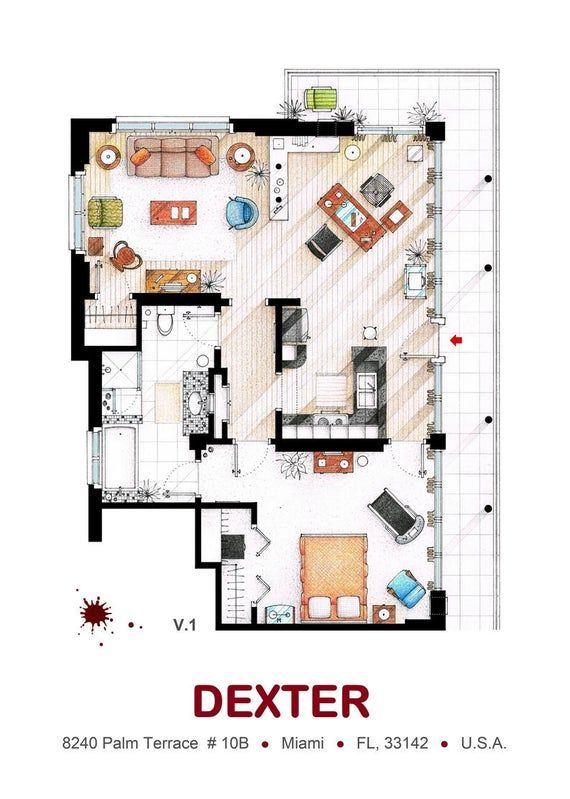 Floorplan Of The Apartment From Dexter In 2020 Floor Plans Floor Plan Drawing Dexter