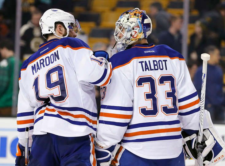 BOSTON, MA - JANUARY 05: Cam Talbot #33 of the Edmonton Oilers celebrates with Patrick Maroon #19 of the Edmonton Oilers after defeating the Boston Bruins, 4-3, at TD Garden on January 5, 2017 in Boston, Massachusetts. The Oilers won 4-3. (Photo by Jim Rogash/Getty Images)