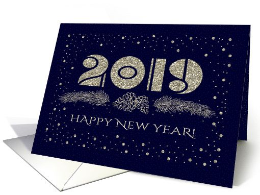 Last Day To Send Christmas Cards 2019 Happy New Year 2019. Christmas Branches Design card | RING IN THE