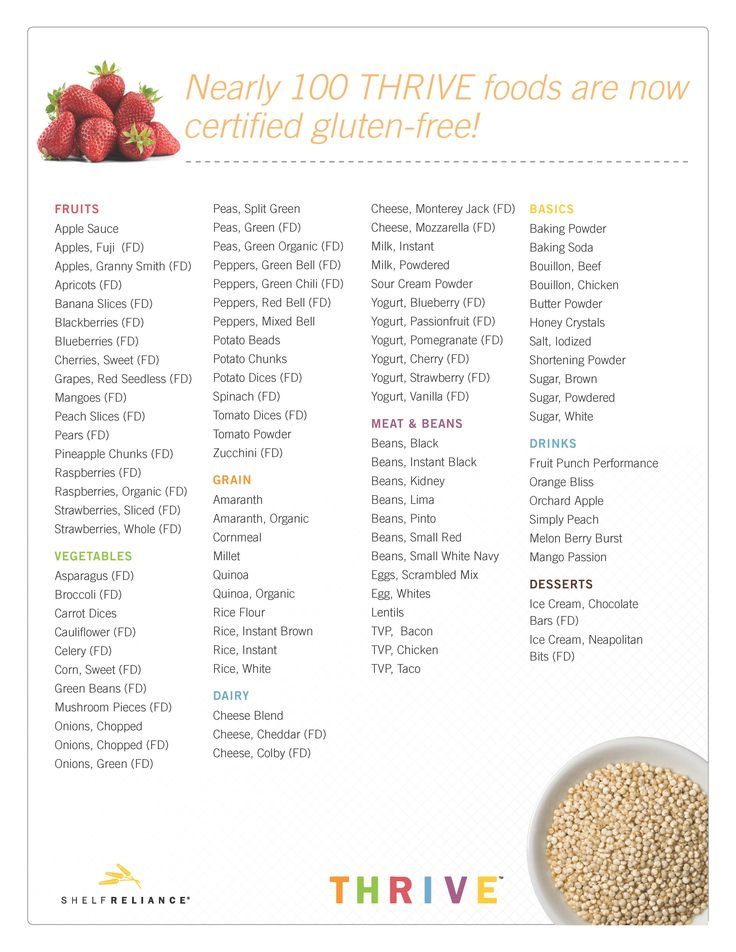 gluten free food list   98 Certified Gluten Free Foods-Save $$ on Thrive Freeze Dried Foods