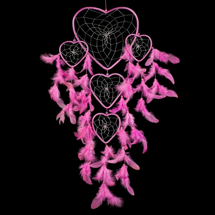 "Dream Catcher ~ Handmade Light Pink Heart Shape with Silver String 8.5"" x 24"" – <3 CaughtDreams.com <3"