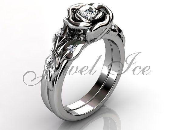 Platinum diamond ongebruikelijke unieke bloem trouwring verlovingsring ingesteld, bruids reeks, verzameling van de bruiloft, verjaardag ring set.  Mysterieus en sensuele bloemen zijn een van mijn traditionele bronnen van inspiratie en een gelegenheid om haar unieke en ongewone oprichting, gemotiveerd door high fashion design express.  Deze bloem engagement ring heeft 7 VS/SI G - kleur diamanten (1-3 en 6-1,5 mm) met een totaal gewicht van ca. 0,20 ct.  Benaderende afmetingen van de ring:...