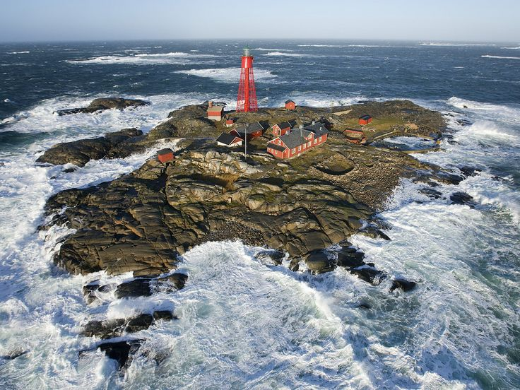 Pater Noster lighthouse on the west coast of Sweden in a full ...