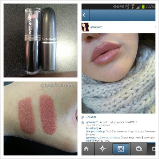"#makeupdupe ""Velvet Teddy"" lipstick I bought from MAC the dupe is Wet N Wild lipstick in ""Bare It All""."