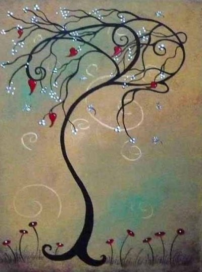 whimsical tree- the one thing I like about this one is the branches blowing one direction