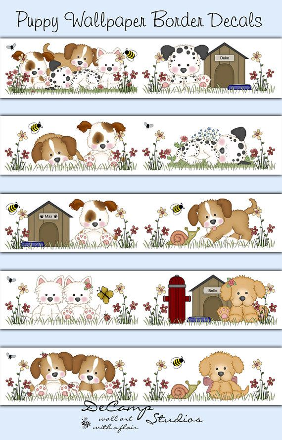 Puppy Dog Wallpaper Border For Baby Boy Or Nursery And Children S Room Decor Decampstudios Pinterest