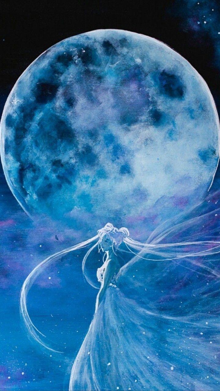 Sailor Moon Princess Serenity Full Moon Art Painting Artwork Manga