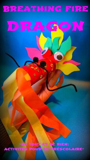 De tout et de rien: Activités pour le Préscolaire: Fire breathing dragon with cardboard tube - Dragon cracheur de feu fait avec un rouleau d...