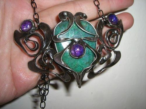 necklace, gemstone, cooper, tinned jewelry, Seemoon