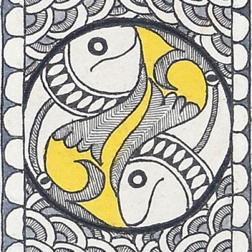 Shop Monochromatic Madhubani Painting Featuring Fishes by Kalakruti online. Largest collection of Latest Wall Art and Paintings online. ✻ 100% Genuine Products ✻ Easy Returns ✻ Timely Delivery