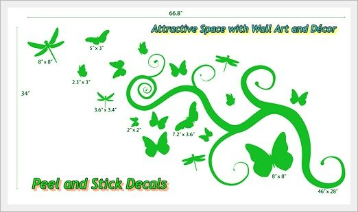 Attractive Space with Wall Art and Décor  http://peelnstickdecals.blogspot.com/2013/07/attractive-space-with-wall-art-and-decor.html  http://www.peelnstickdecals.com/products/butterflies-dragonflies-wall-decor-1