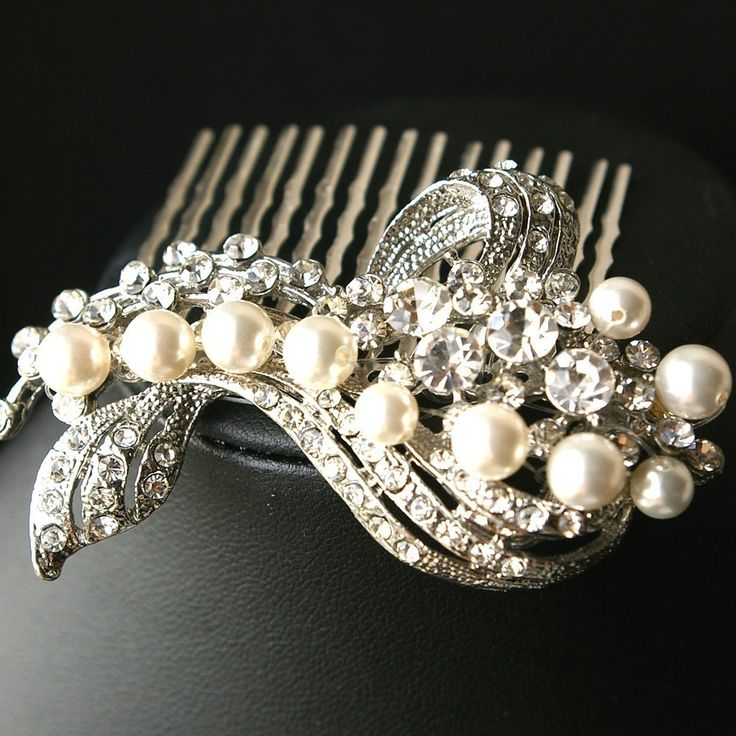 Wedding Hair Comb, Bridal Hair Accessories, Pearl & Crystal Bridal Hair Comb, Art Deco Wedding Hair Accessories,Vintage Glamour, BETTE. $68.00, via Etsy.