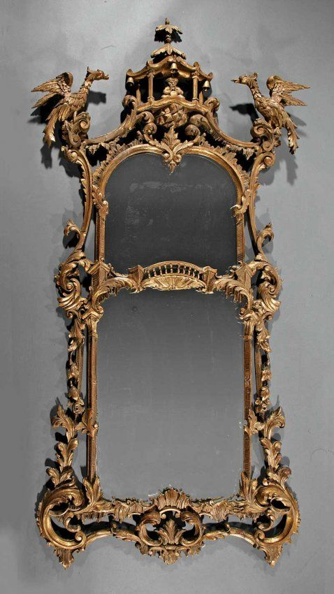 A Pair Of Chinese Chippendale-Style Pier Mirrors, Pagoda And Ho Ho Bird Crests, Foliate Scrolled Frames, Divided Mirror Plates    c. 19th Century  -  Liveauctioneers
