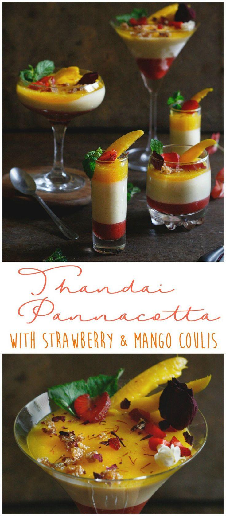 Thandai (spiced Almond Milk) pannacotta with strawberry and mango coulis is ever… d216bbfec04b337c7fe56d9cdba41095  make ahead desserts summer desserts