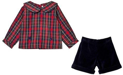 Rachel Riley Tartan Shirt and Navy Shorts
