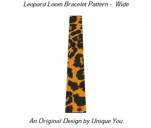 Loom Bracelet Pattern - Leopard Animal Print Beaded Cuff - Wide - PDF