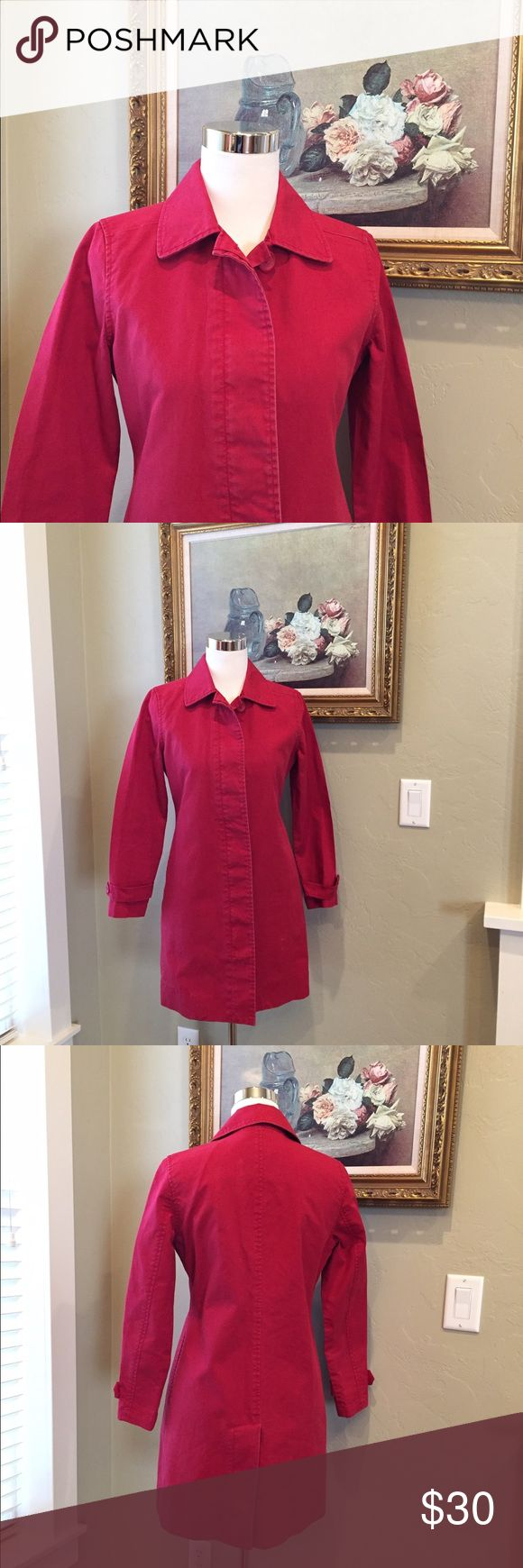 GAP COAT Pretty red khaki coat in very good condition. Side pockets and long zipper and button down front. GAP Jackets & Coats Trench Coats