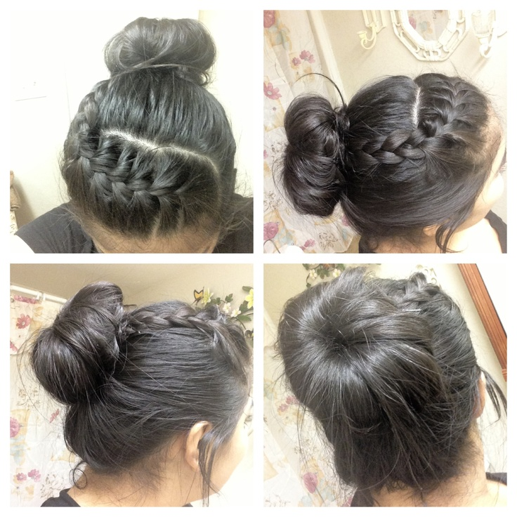 Cute braid with a messy bun.. Cute for work and school.