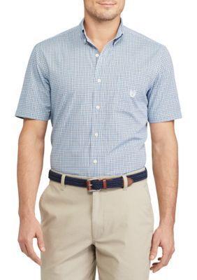 Chaps Men's Short Sleeve Checked Shirt - Florida Blue - 2Xl