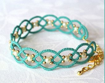 Tatting lace bracelet Glass beads jewellery Hand by TattingLand