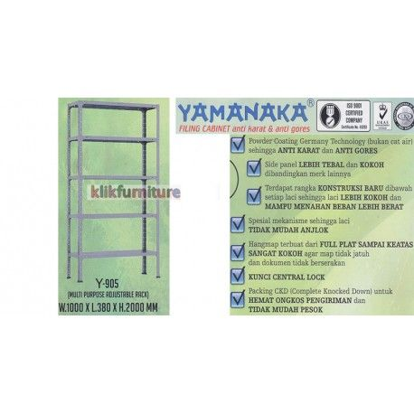 Harga Y 905 Yamanaka Condition:  New product  Ukuran W : 1000 x L : 380 x H : 2000 mm Anti karat dan anti gores ISO 9001 Certified