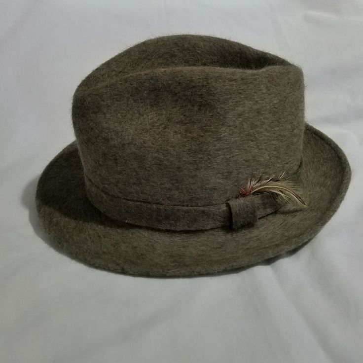 Vintage Mallory By Stetson Fedora Feathered Wool Hat Mens Size Large Gray MCM #Stetson #Fedora #Casual