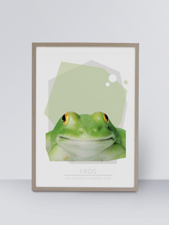 Life In Plastic: Frog. Available in the dimensions 30 x 40 cm and 50 x 70 cm. Buy it at www.justspotted.dk
