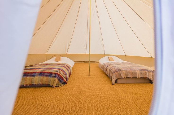 A sneak peak inside our new 5m tents  - normally these will be furnished with one double and two single airbeds.