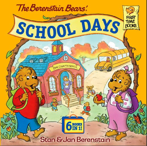 New book birthday! The Berenstain Bears' School Days ... The six Berenstain Bears books about school in this new hardcover collection offer reassurance to elementary-age children about first-day jitters, homework, report cards, playground bullies, and more. Published by Random House Children's Books and now available from your favorite retailer.