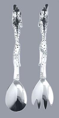Pewter handcrafted. Diana Carmichael design. Salad Server - Cheetah Africa Collection