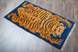 Handgeknuepfter-Tibetischer-Teppich-Tiger-Tibet-Meditation-91x176cm-15mm-Hima