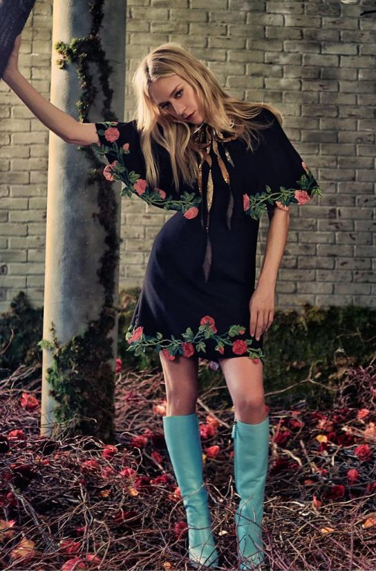 Bell-sleeved LBD w/ floral hem & cuffs, teal kneehigh boots ~ Chloe Sevigny in Gucci