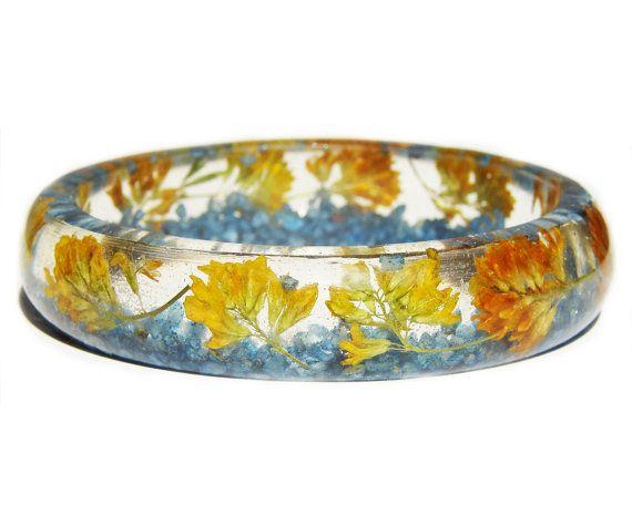 Gelbe Blume Armreif Blume Schmuck Resin-Armband von ArttSpaces