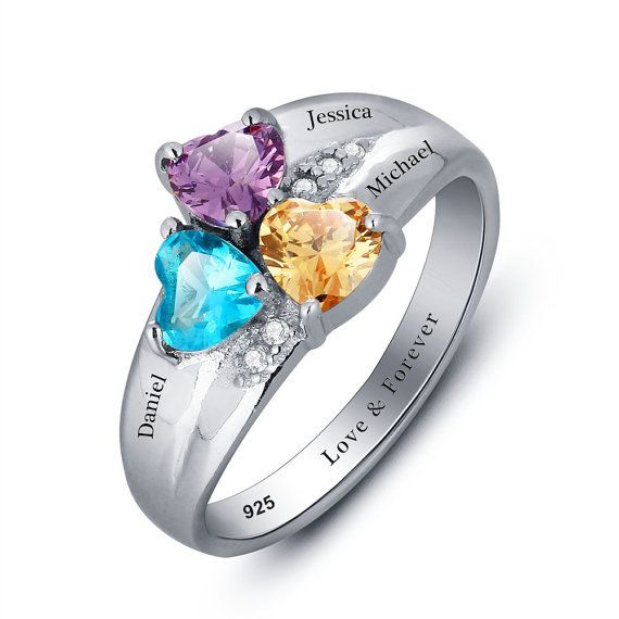 Engraved Promise Ring Couples Birthstone Ring by LenaMayJewelley