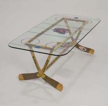 hockey stick table for the game room! This is a must!!