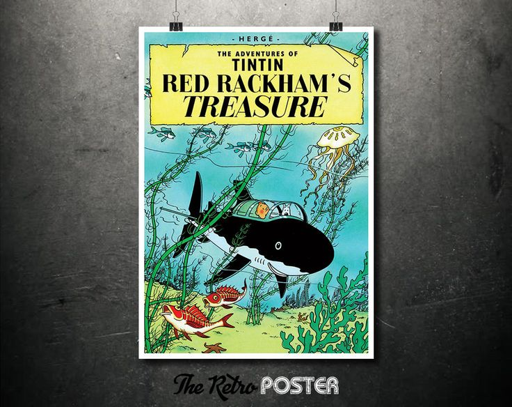 TinTin -  Red Rackham's Treasure - The Adventures of TinTin - Hergé, 1943 - Kids Gift, Kids Prints, Nursery Decor, Nursery Prints by TheRetroPoster on Etsy