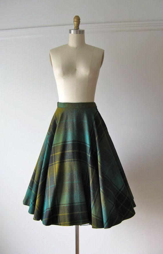 vintage 1950s green plaid Pendleton circle skirt, $65.00