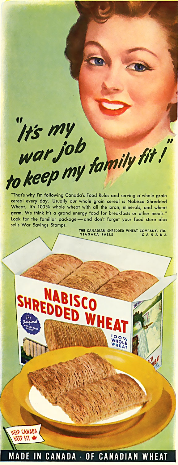 """It's by war job to keep my family fit!"", Nabisco Shredded Wheat"