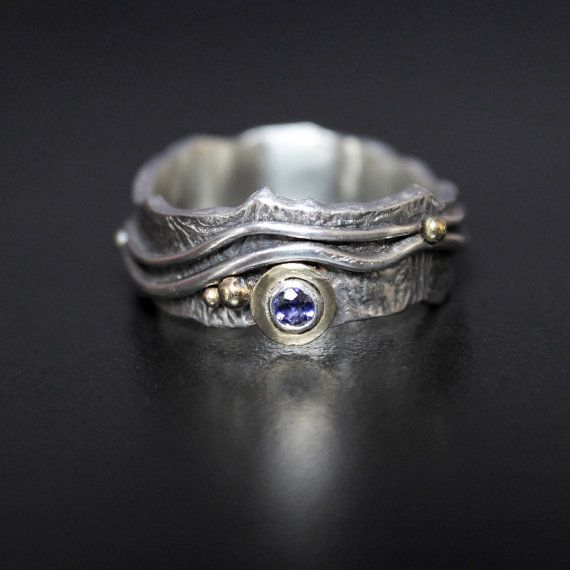 Water Sapphire Mountain River Ring - Silver + 18ct Gold - Made to Order