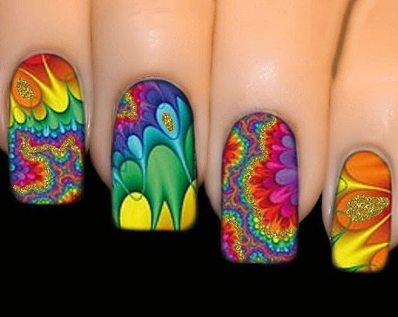 The 25 best hippie nails ideas on pinterest hippie nail art nail stickers full cover series nail art water transfer decal sticker hypnotic prinsesfo Choice Image