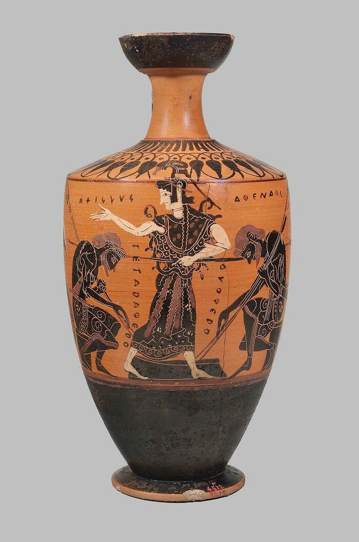 Ceramic black-figure oil flask (lekythos) with Achilles, Ajax and Athena. Greek. Archaic Period, c. 500 B.C. | The Museum of Fine Arts, Boston