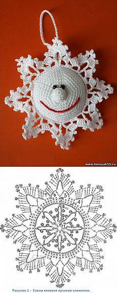 Весёлая снежинка крючком | «Хомяк55.ру» сайт о вязании