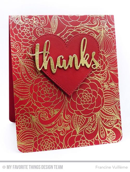 Floral Fantasy Background, Flop Card - Heart Die-namics, Thanks & Hello Die-namics - Francine Vuillème  #mftstamps