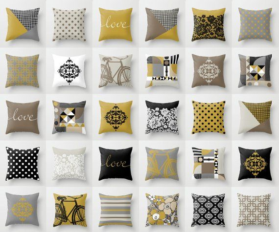 Mustard And Grey Throw Pillow Mix And Match Indoor Outdoor Cushion